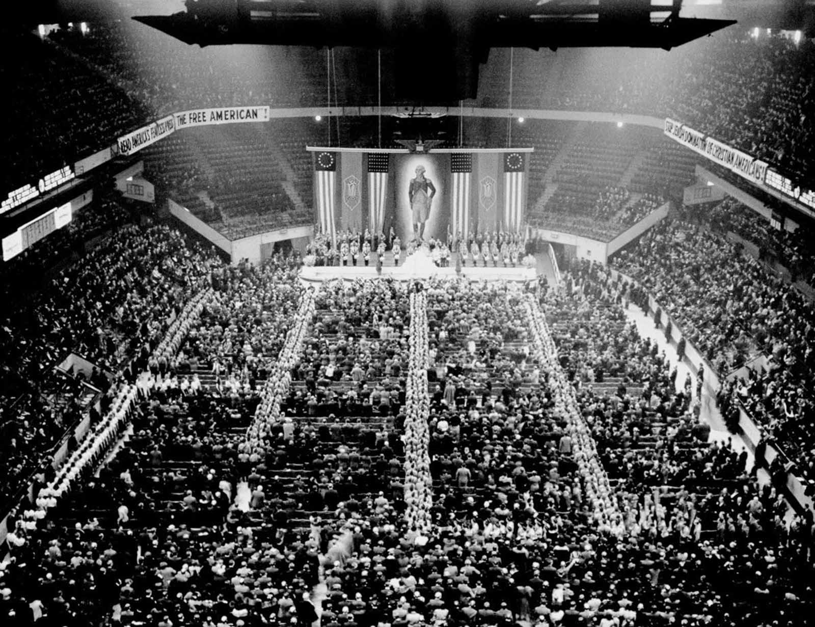 In front of a crowd of 22,000, flanked by a massive portrait of George Washington, swastikas and Americans flags, Kuhn attacked President Roosevelt for being part of a Bolshevik-Jewish conspiracy.