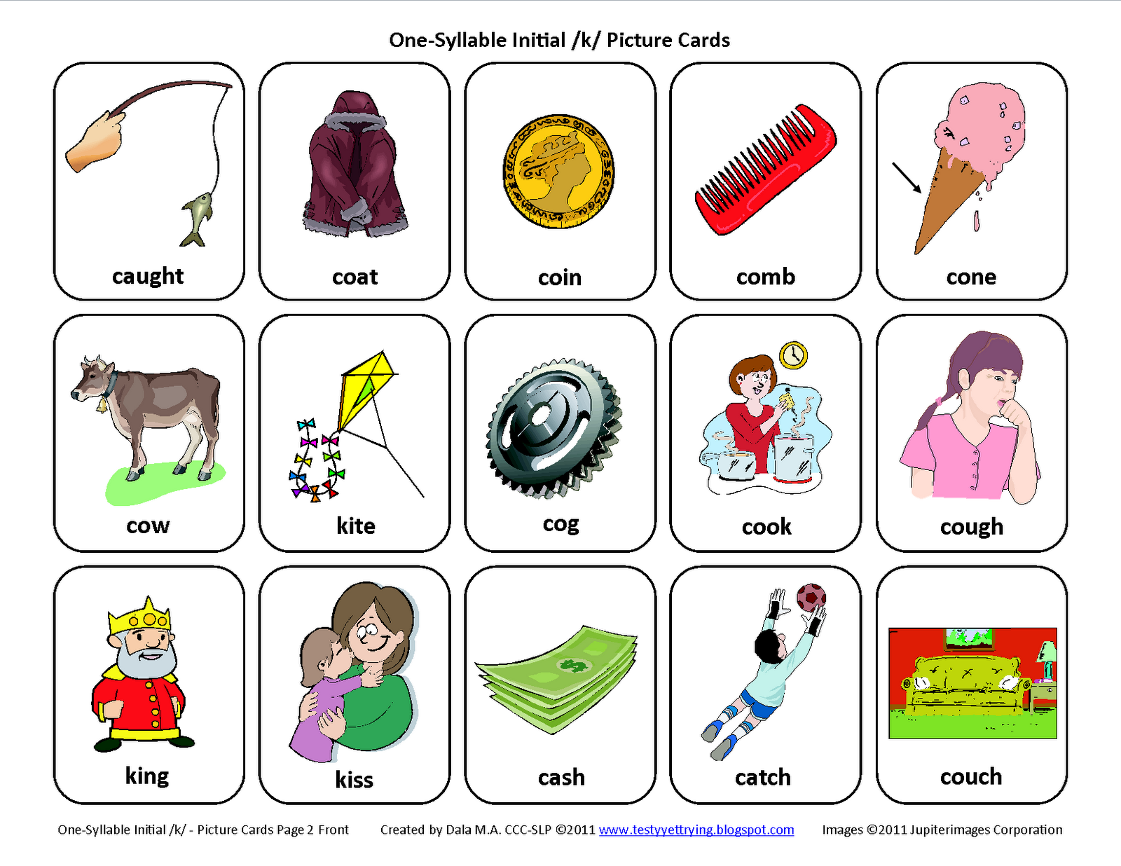 Testy Yet Trying Initial K Free Speech Therapy Articulation Picture Cards