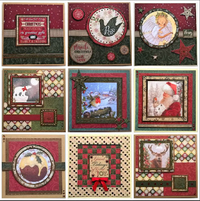 Cards made from the Buzzcraft Festive Season range of foiled & die cut toppers with co-ordinating printed background card