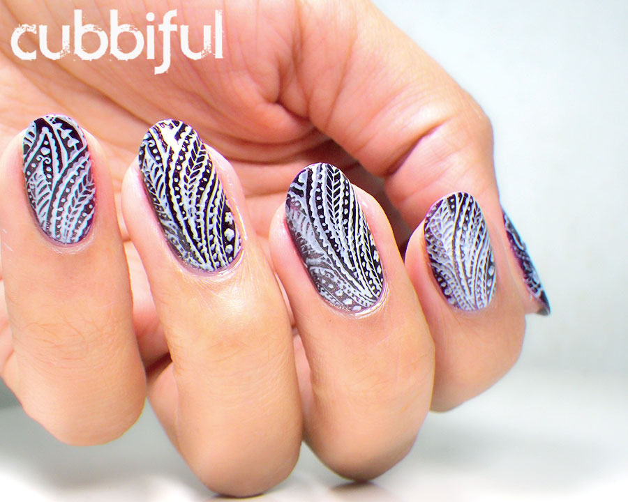 stamping leaves nails