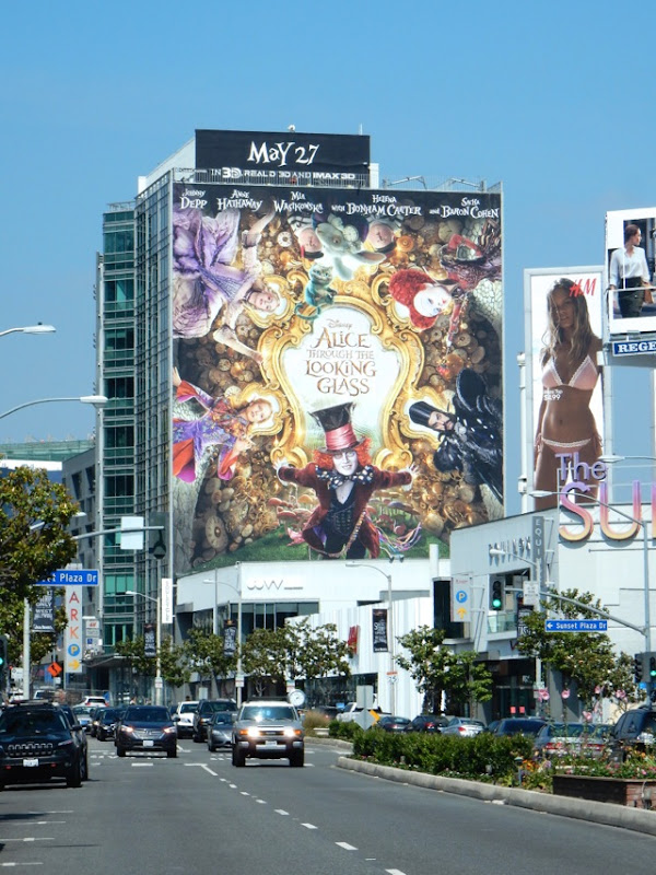 Alice Through the Looking Glass film billboard Sunset Strip
