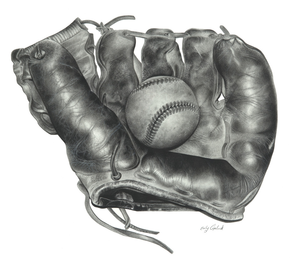 11-Glove-and-Baseball-Ball-Emily-Copeland-Vintage-and-Retro-Objects-in-Photo-Realistic-Drawings-www-designstack-co