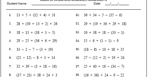 Download Free Grade 4 Maths Order Order Of Operations Worksheet-2