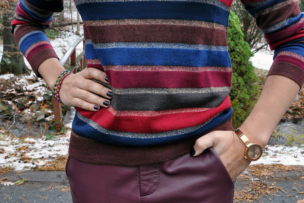 cd51812ba3733 outfit} Burgundy Leather Pants - Look #2 | Closet Fashionista
