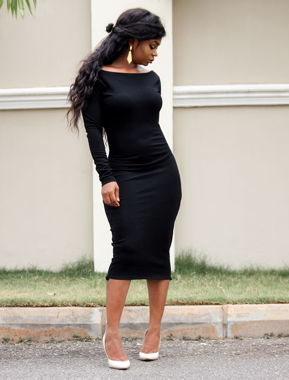 PORSHHER BLACK DRESS - Long sleeve Black Bodycon Dress by Porshher
