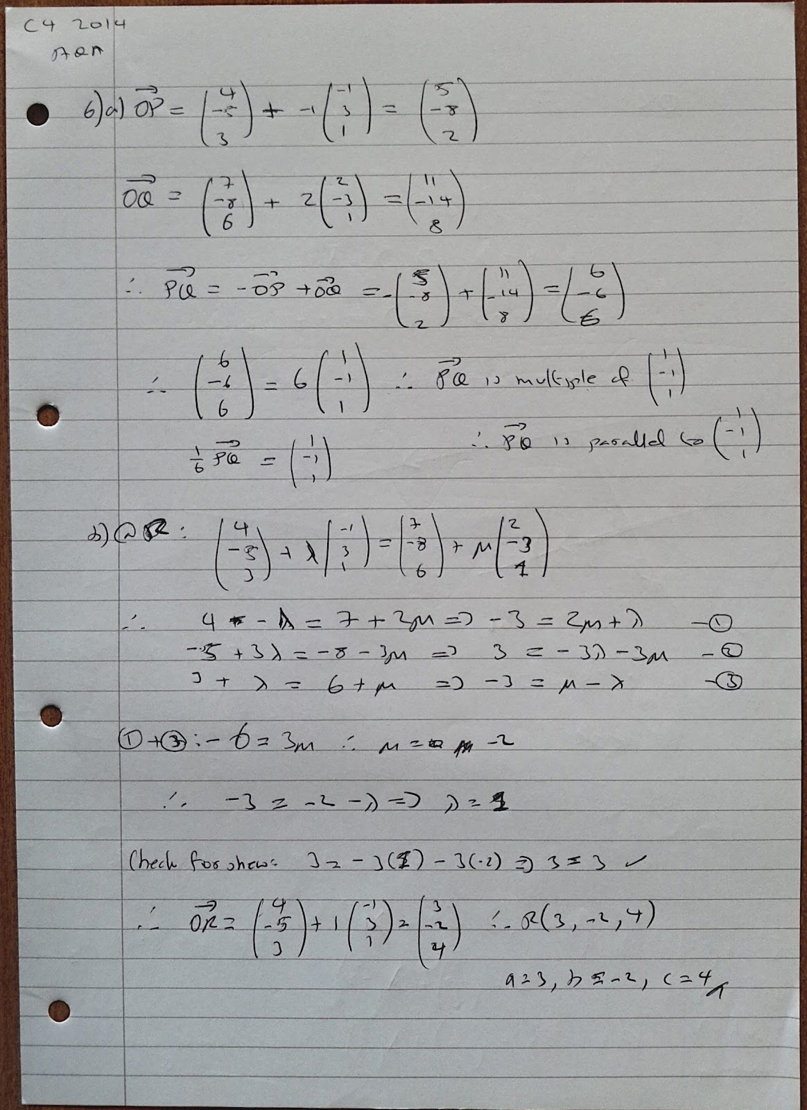 A Level Maths Notes: AQA Core 4 (C4) Summer 2014 Exam