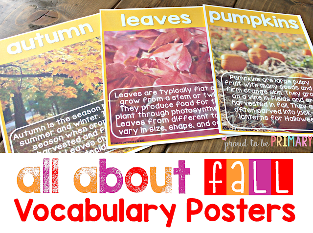 fall lesson plans - vocabulary posters