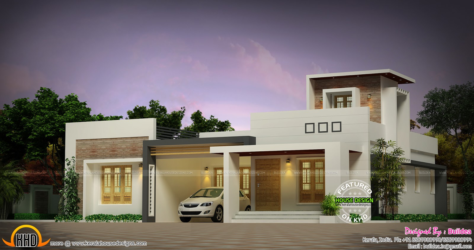 1572 sq ft 2 bedroom one floor home kerala home design for One floor house images