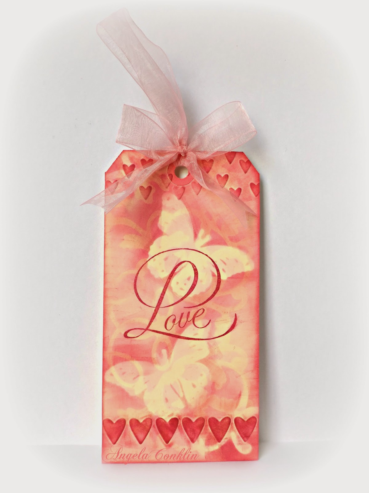 Handmade Valentine's Day Gift Tag: Love with Hearts and Butterflies