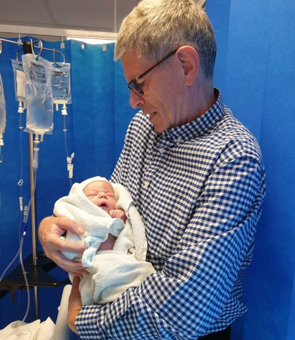Proud grandad with first grand child