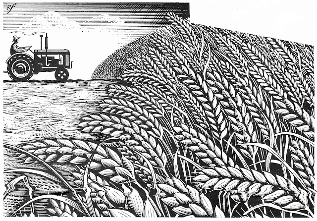Eric Fraser illustration of a wheat farm 1948