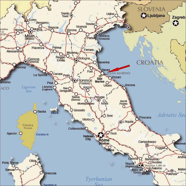 Mapa de localização de San Marino