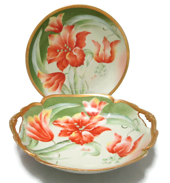 Limoges Bowl and Plate by Mandavy de Mavaleix Hand Painted by Barathé