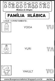 Famílias silábicas alfabetização letra Y