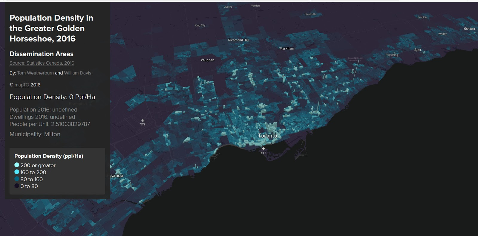 Population density in the Toronto Region