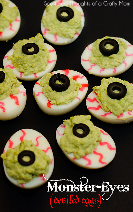 Halloween Inspired foods: Monster Eyes (deviled eggs) #halloween #Deviledeggs #avocado
