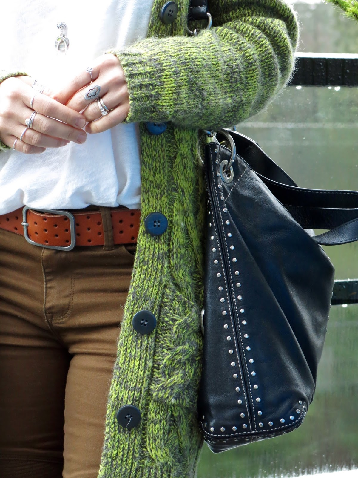 khaki skinnies, perforated AEO belt, grandpa cardigan, Michael Kors belt