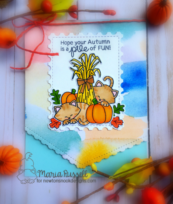 Fall Harvest cat card by Maria Russell | Autumn Newton Stamp Set by Newton's Nook Designs #newtonsnook #handmade