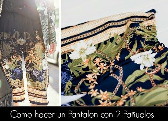 bricomoda, pantalón con pañuelos o scarfs, moda, transformación