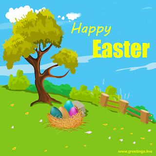 Happy Easter Cartoon Illustration Easter Eggs Tress Clouds