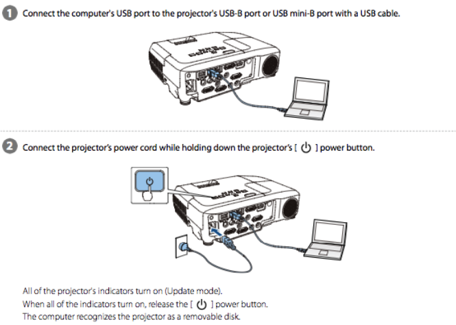 Epson PowerLite Pro Z9800W Projector Firmware Install Intruction