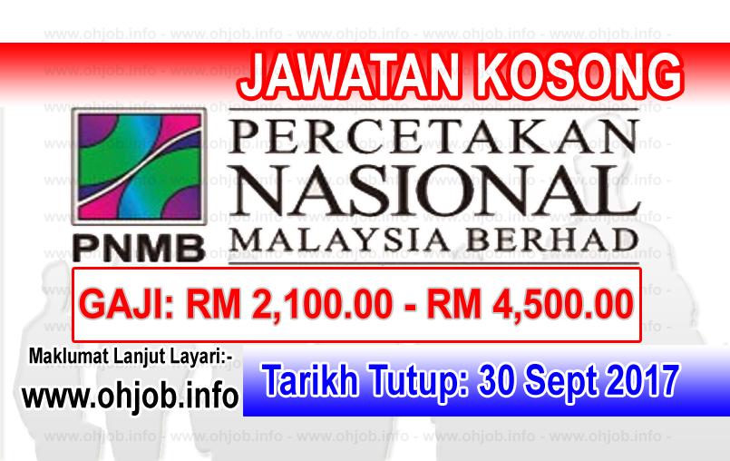 Jawatan Kerja Kosong PNMB - Percetakan Nasional Malaysia Berhad logo www.ohjob.info september 2017