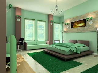 decoración habitación verde