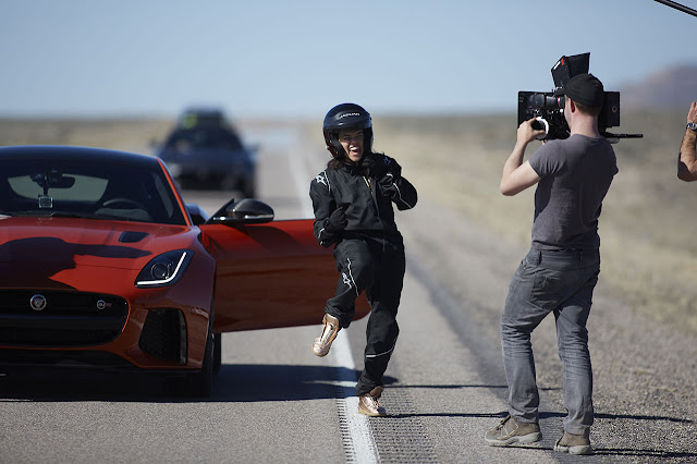 Michelle Rodriguez reaches 201 mph in Jaguar F-Type SVR
