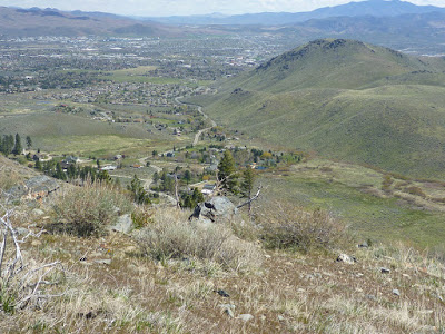 Kings Canyon Road snaking eastward into downtown Carson City