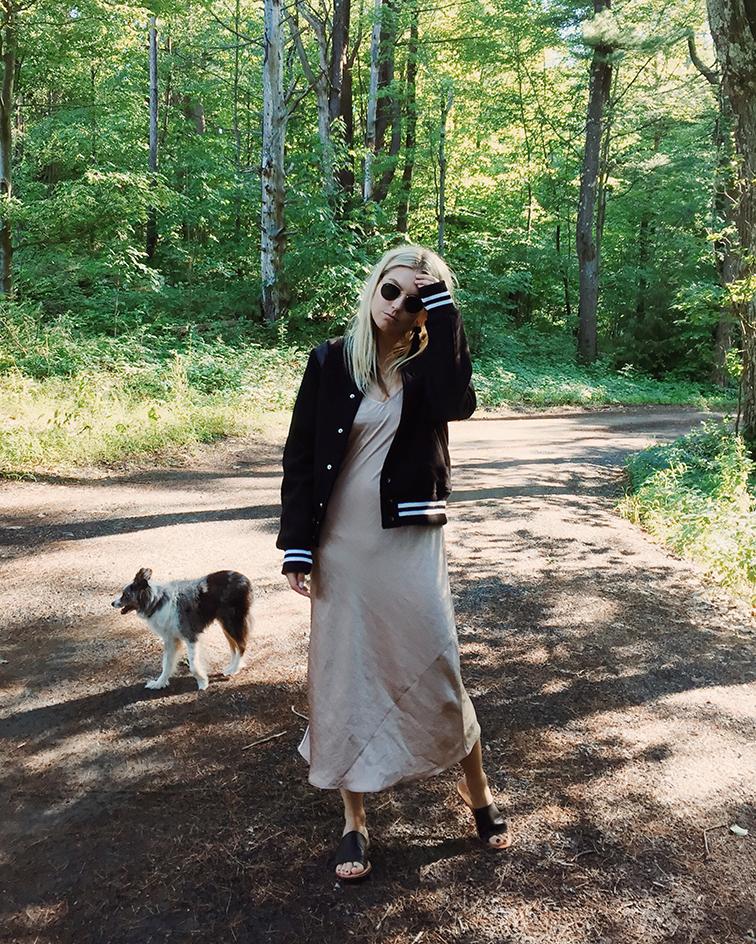 heleneisfor x aritzia slip dress, Vanessa Mooney tassel earrings, Soludos sandals