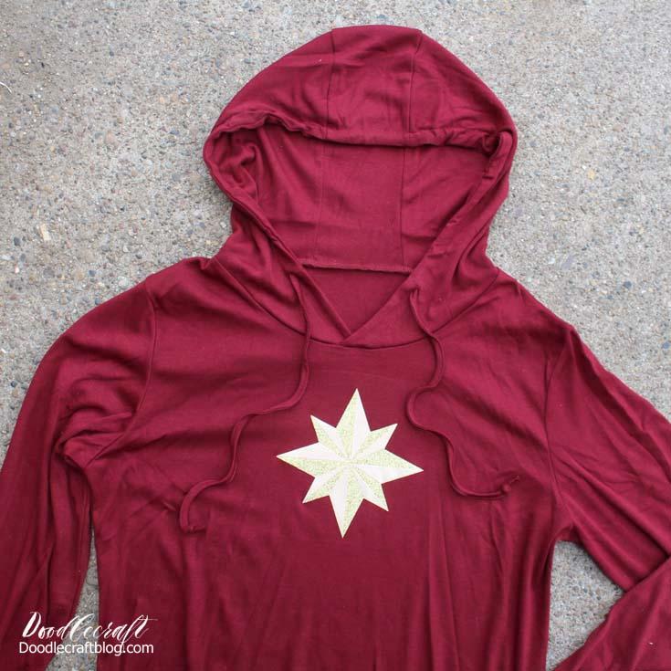 Captain Marvel Gold Star Hoodie Shirt with Lego + Cricut