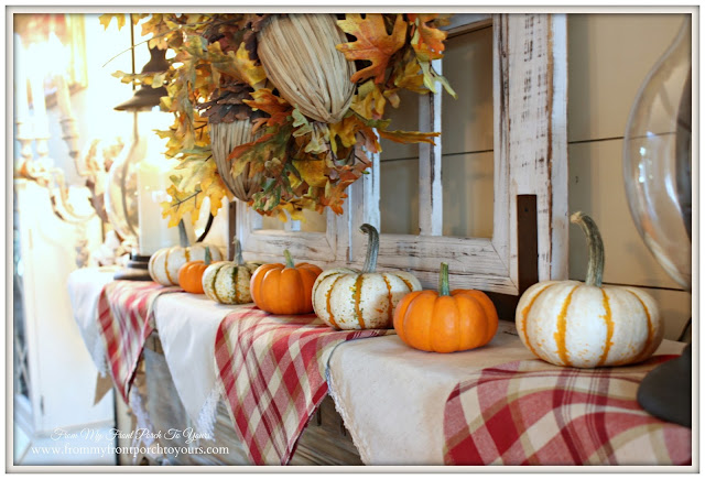 Farmhouse Fall Mantel- Mini Pumpkins- From My Front Porch To Yours