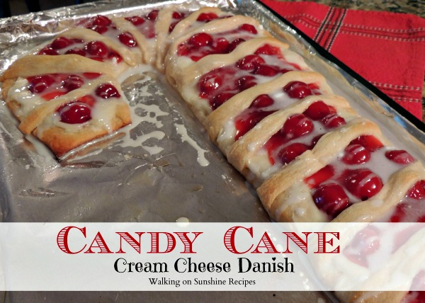 Candy Cane Cream Cheese Danish Recipe from Walking on Sunshine Recipes.