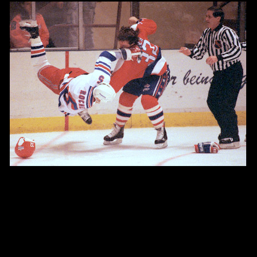 This is likely the last time the Rangers' Normand Rochefort challenged Dale Hunter to a fight