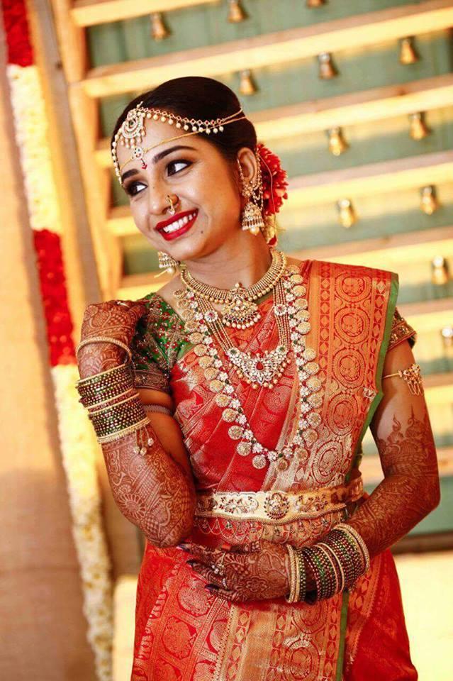 Bride In Ramparivar Haram Jewellery Designs