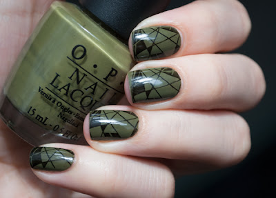 Stamping nail art with OPI Uh-oh Roll Down the Window