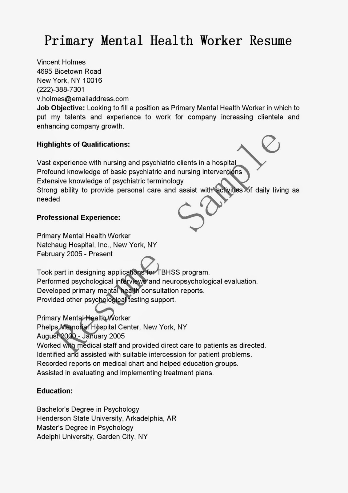 Resume Samples: Primary Mental Health Worker Resume Sample