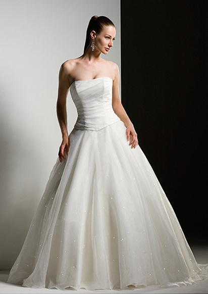 Plain white wedding dress-3104