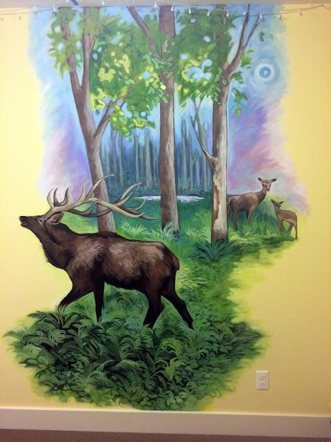 elk mural,hunting mural, pacific northwest mural, deer mural, portland mural, portland muralist