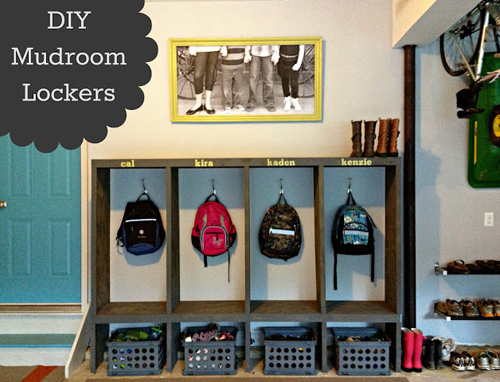DIY Mudroom using lockers for the garage for built in look.