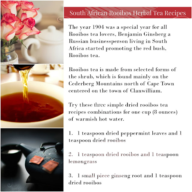 What is red bush tea? Rooibos, pronounced roo-ee-bosh means red bush. South African Rooibos Herbal Tea is non-caffeinated with a reddish-brown color and is considered a healthy tea.