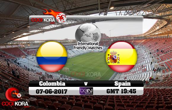 مشاهدة مباراة أسبانيا وكولومبيا اليوم 7-6-2017 مباراة ودية