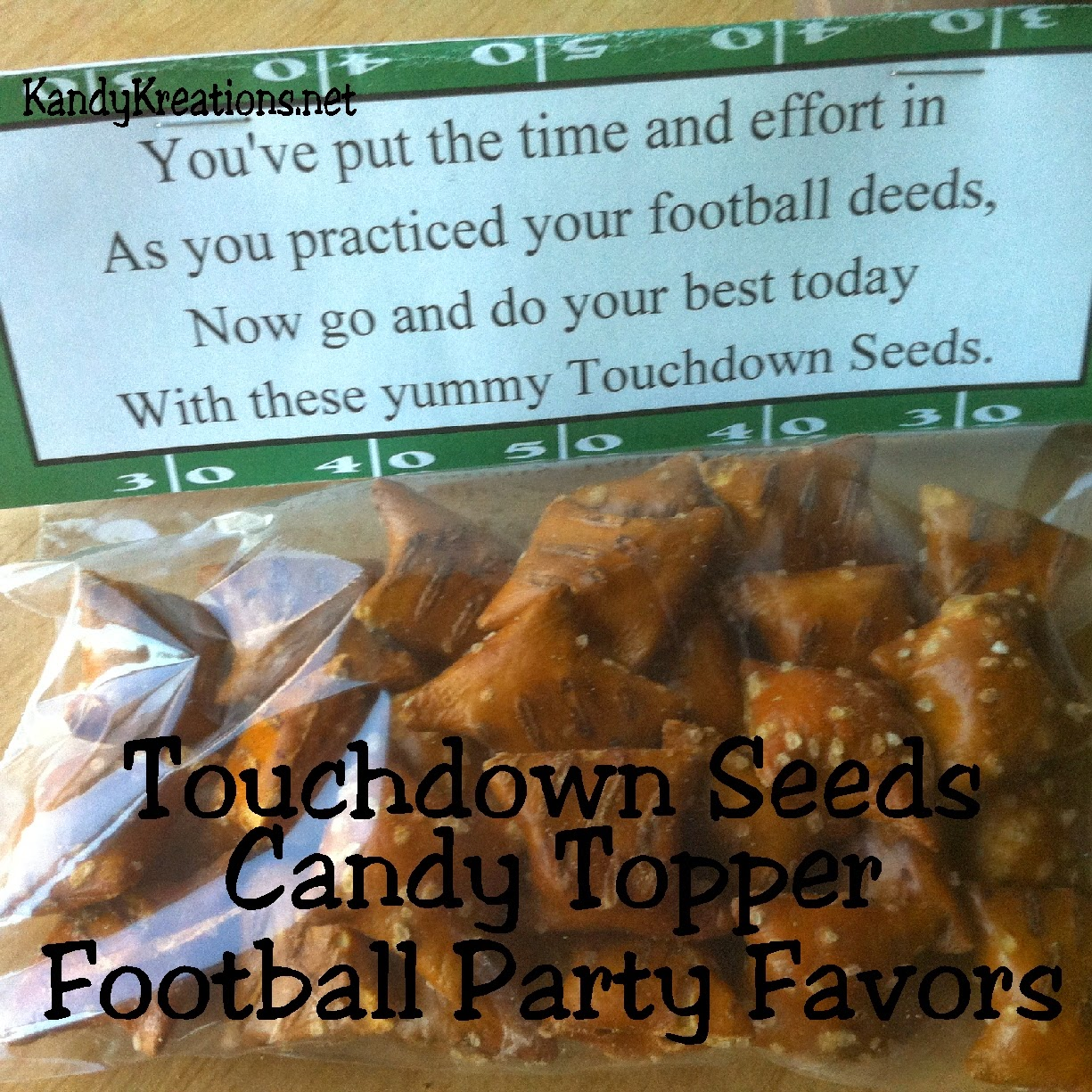 Touchdown Seeds Football Party Favors Printable by Kandy Kreations