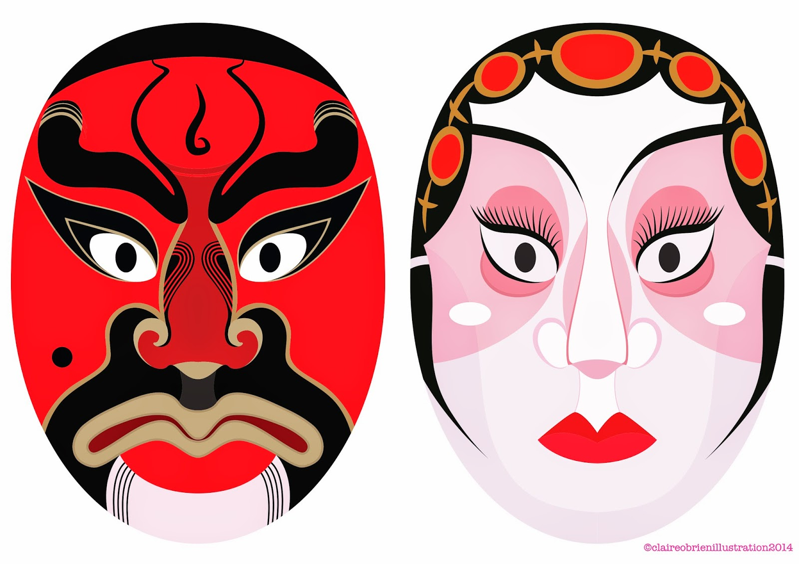 Claire O'Brien Illustration, Chinese, Hong Kong, Chinese Opera Masks, Peking, Beijing, Opera