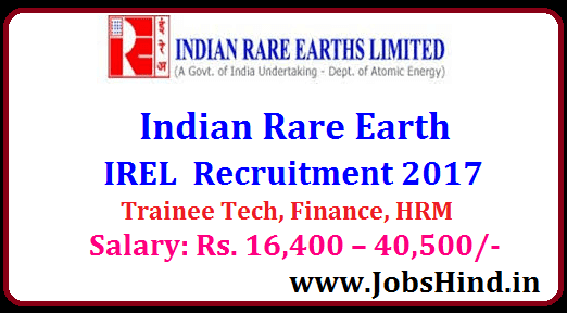 Indian Rare Earth Recruitment 2017