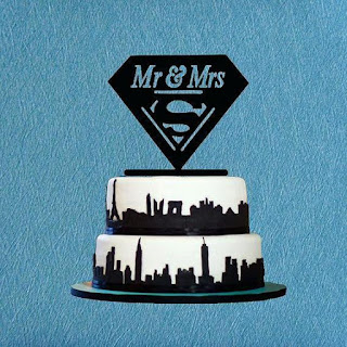 Mr and Mrs Superhero Wedding Cake Topper
