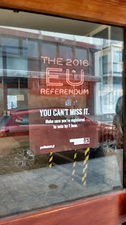 Photo of a bring-out-the-vote poster in a window in Gibraltar, posted by the territorial government to remind residents to vote in the upcoming Brexit referendum on whether Britain should leave the European Union (EU)