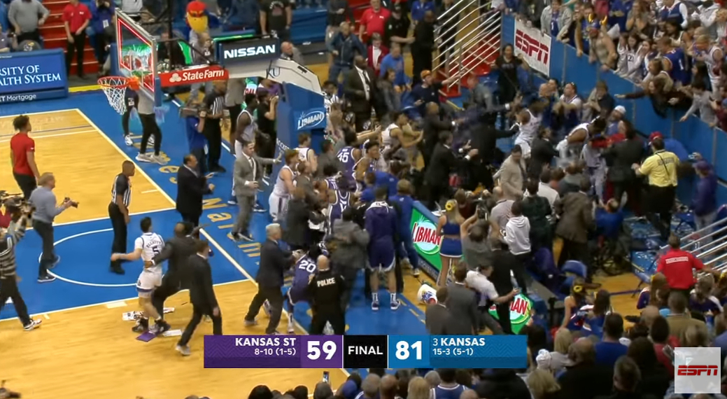 Massive BRAWL Breaks Out At End Of Kansas-Kansas State (VIDEO)