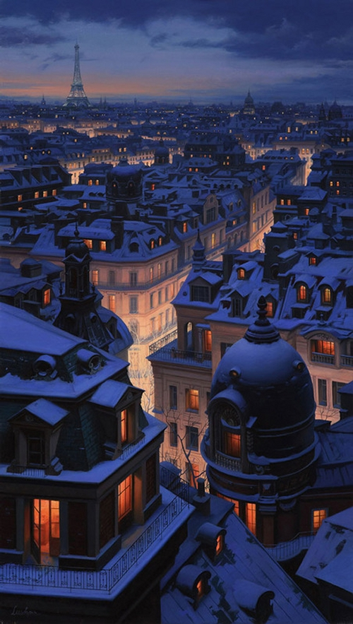 20-Over-the-Roofs-of-Paris-Evgeny-Lushpin-Scenes-of-Realistic-Night-Time-Paintings-www-designstack-co