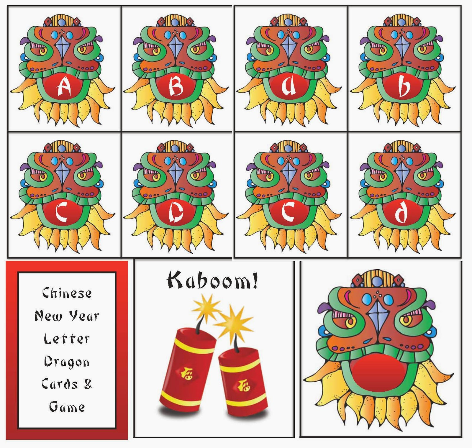 Classroom Freebies Chinese New Year Alphabet Card Game Packet